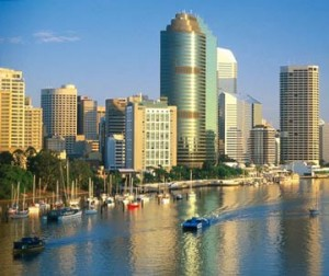 Brisbane river and city in Queensland, Australia.
