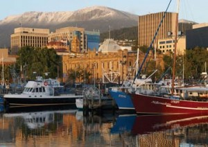 Docks of Hobart, capital of Tasmania.