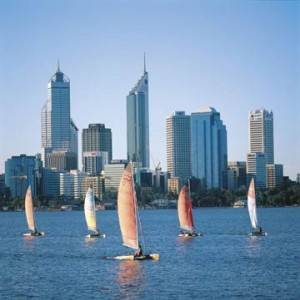 Perth harbour and city in Western Australia.